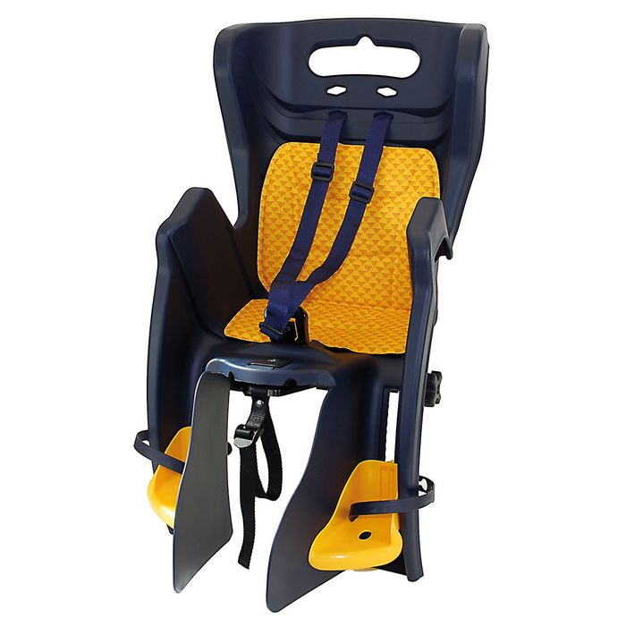 "BABY SEAT FOR SEAT TUBE - ""LITTLE DUCK CLAMP ' MOUNTED TO CARRIER NAVY BLUE"