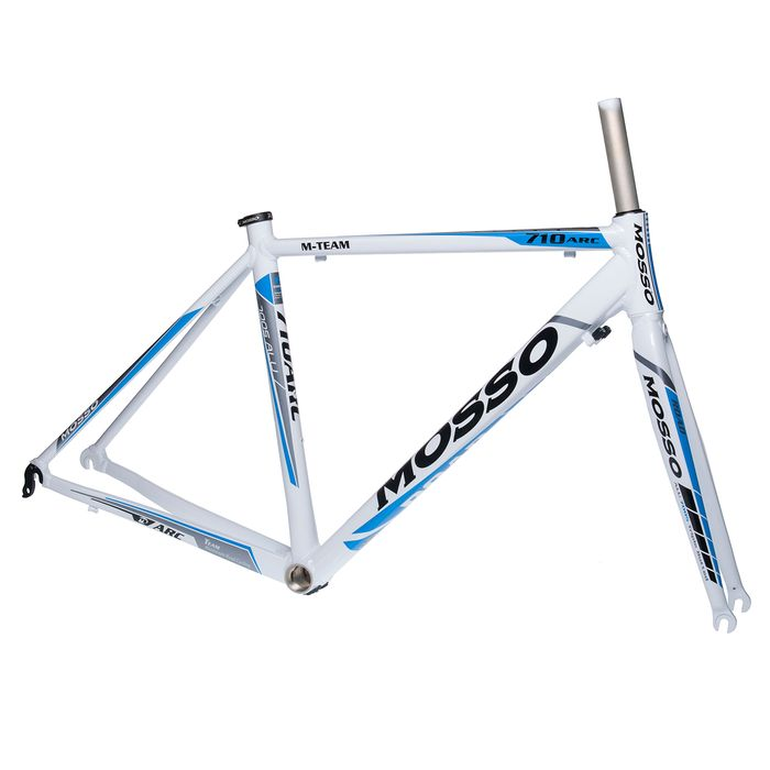 FRAME ROAD  MOSSO 710ARC with Aluminum Fork   Size  :490mm White  / Gray /  Blue Line.