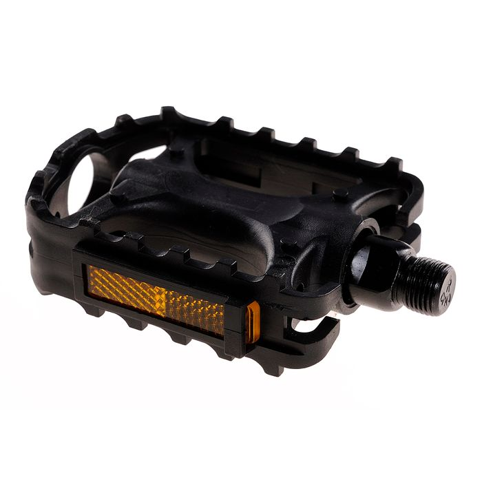 PEDALS MTB - PLASTIC WITH REFLECTION, BLACK
