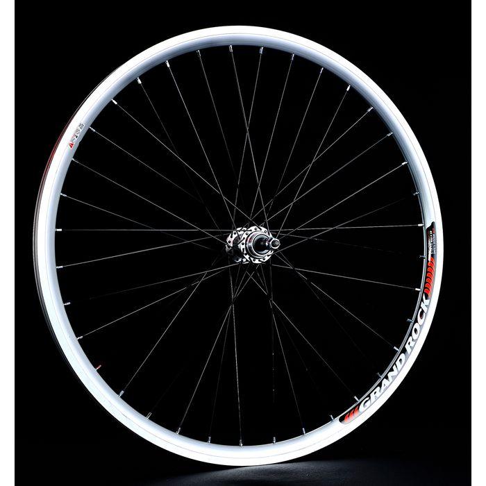 """BACK WHEEL -28"""" RIM  REMERX GRAND ROCK - Silver colour  HUB A JOYTECH- (for freewheel : 6,7 speed ).Black spokes"""