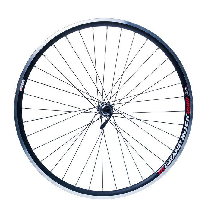 "FRONT WHEEL  REMERX GRAND ROCK 28"" HUB SHIMANO HB-RM70- silver  / 36-holes Black colour"