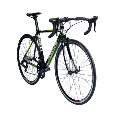 ROAD BICYCLE MOSSO 720TCA SHIMANO SORA 2x9  Black / White / Green Line