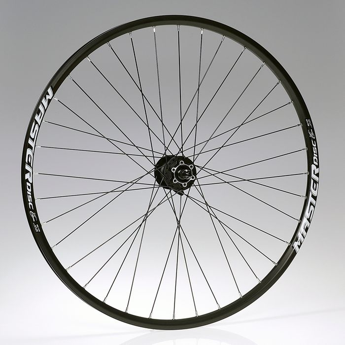 "FRONT WHEEL  -28"" RIM  REMERX MASTER DISC black colour  HUB  SHIMANO HB-M475 - mounting for  6 screws"