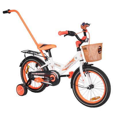"CHILDREN'S BICYCLE -16"" JUNIOR  WHITE MATT / ORANGE MATT"