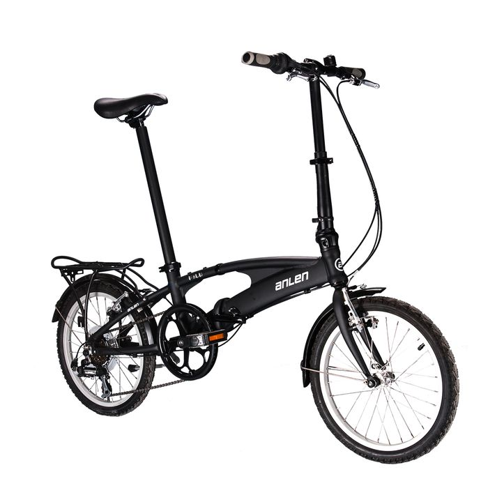 "FOLDING BICYCLE   ANLEN -18"" SHIMANO / TOURNEY 6- speed  Matt Black"