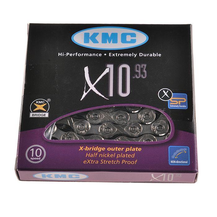 ŁAŃCUCH KMC X-10.93- 114 OGNIW- 10b.-SREB-SZAR