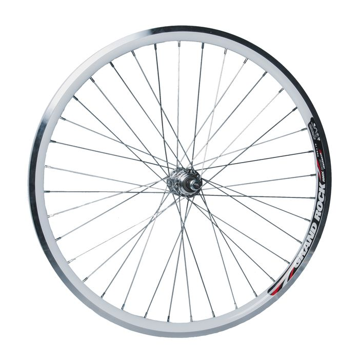 "REAR  WHEEL  -26"" RIM  REMERX GRAND ROCKwhite colour  -HUB  JOYTECH- (for freewheel: 6,7 speed )."