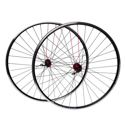 "WHEEL SET  28"" for brake  V-BRAKE. HUB  NOVATEC RIM  REMEX DRAGON RMX L 719 (red spokes  -2 .)"