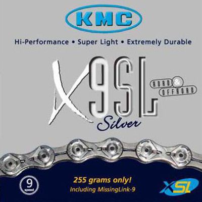 CHAIN  KMC X-9 -SL / 116 Links - 9  speed Col. Silver