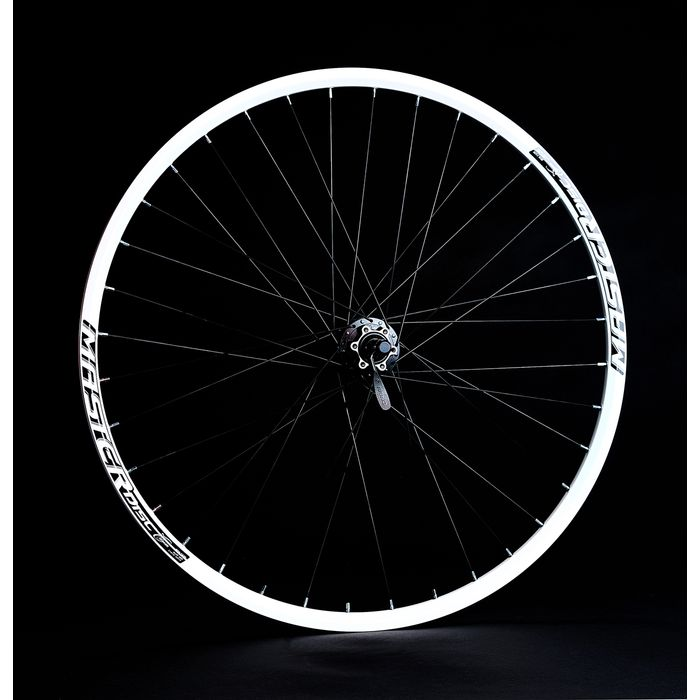 "BACK WHEEL  -28"", 29"" RIM  REMERX MASTER DISC White colour  HUB  SHIMANO FH-M475 -mounting for 6 screws"