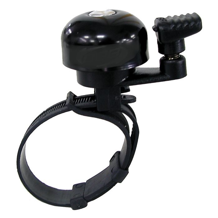 ALUMINUM BELL  MINI BLACK  -MOUNTED TO HANDLEBAR ON THE CLAMP