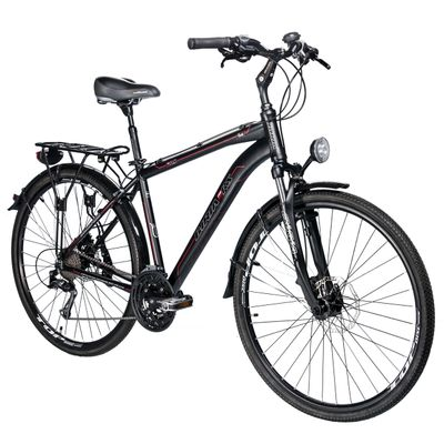 TREKKING BICYCLE  BIRIA SHIMANO ALIVIO-3x9  BLACK MATT/ RED LINE