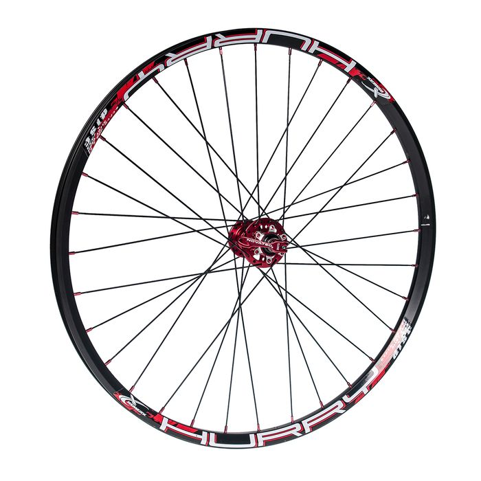 "FRONT WHEEL 26""P.NOVATEC-RED -RIM CLAMP  HURRY BLACK"