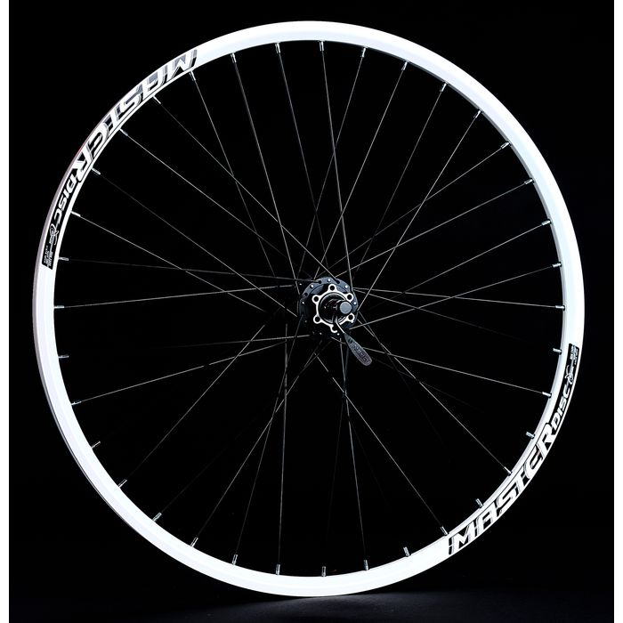 "FRONT WHEEL  -28"", 29"" RIM  REMERX MASTER DISC  white colour   HUB   SHIMANO HB-M475 - mounting for 6 screws"