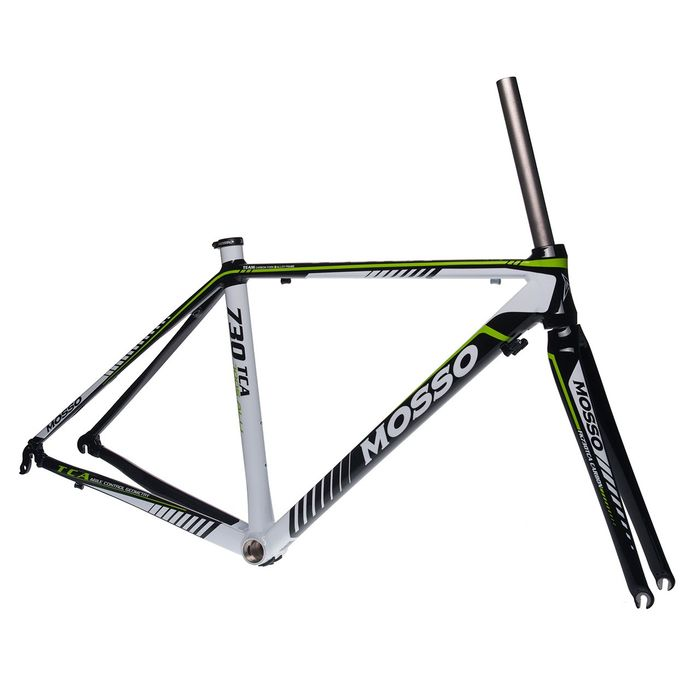 FRAME ROAD MOSSO 730TCA with CARBON FORK    Size: 470mm   Black / White / Green Line