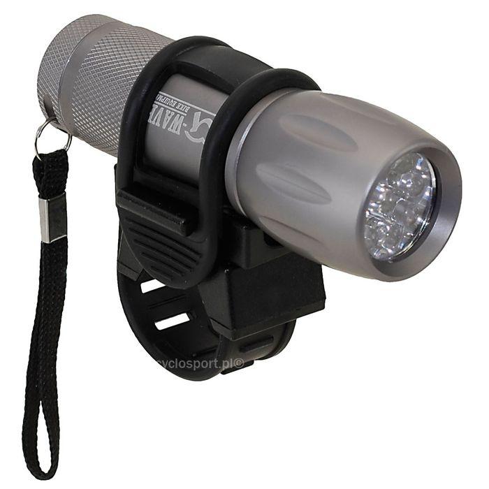 LAMPA PRZÓD M-WAVE 9 - LED ( 1- FUNKCYJNA) Z BATERIAMI NA KIEROWNICĘ OD 22,2 -25,4 OBUDOWA ALU