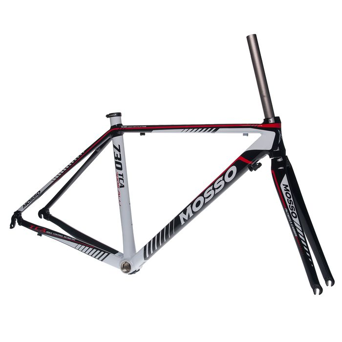 FRAME  ROAD  MOSSO 730TCA  with Carbon Fork  Size : 470mm Black / White / Red Line