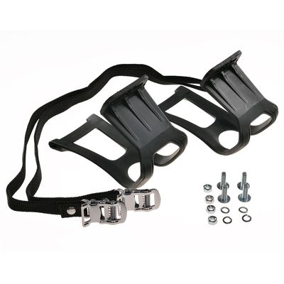 TOE CLIPS + WITH PEDAL STRAPS MTB Black
