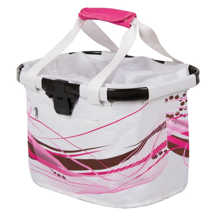 BAG  MOUNTED ON HANDLEBAR WHITE / PINK  -CLIP-ON