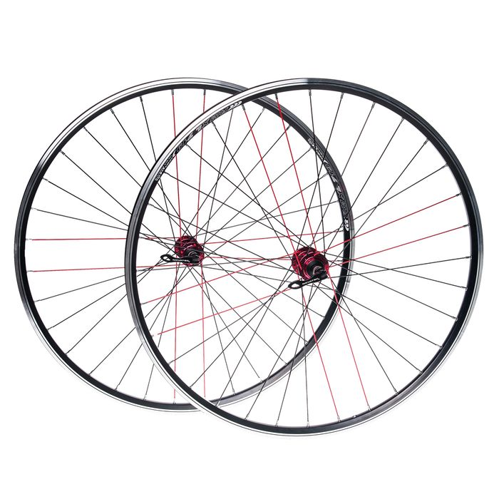"WHEEL SET 28"" fot brake V-BRAKE. HUB NOVATEC ORIM REMEX DRAGON RMX L 719 ( red spokes -8 )"