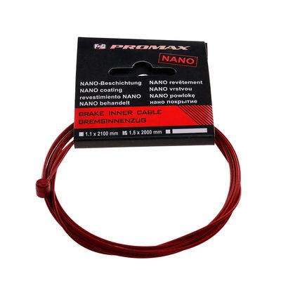 BRAKE CABLE 2000mm-STAINLESS RED