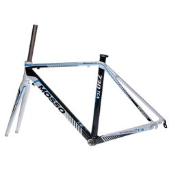 FRAME ROAD MOSSO 730TCA with CARBON FORK  Size: 500mm  White / Black / Blue Line