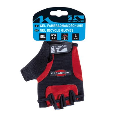 "BICYCLE GLOVES  ""M-WAVE""-GEL  - Red"