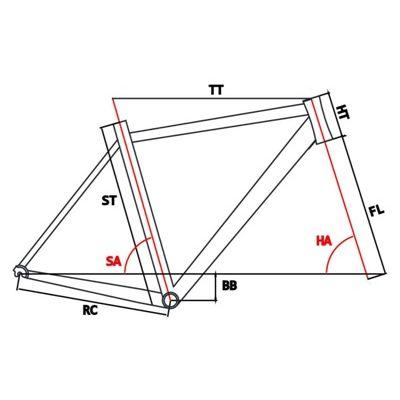 Geometria RAMA SZOSOWA MOSSO 710ARC Z WIDELCEM ALUMINIOWYM Rozmiar: 550 mm Kol.Biało / Szary/ Niebieska linia.